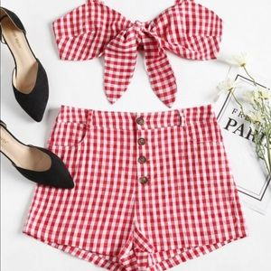 NEW Nasty Gal Red Gingham Set